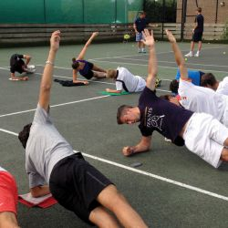 Tennisspieler Fitness-Session